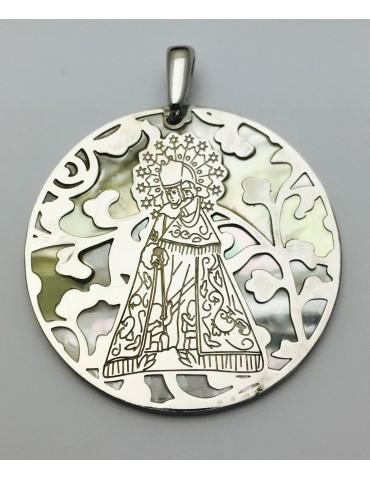 Medalla Virgen Desamparados nácar y plata de ley 40mm