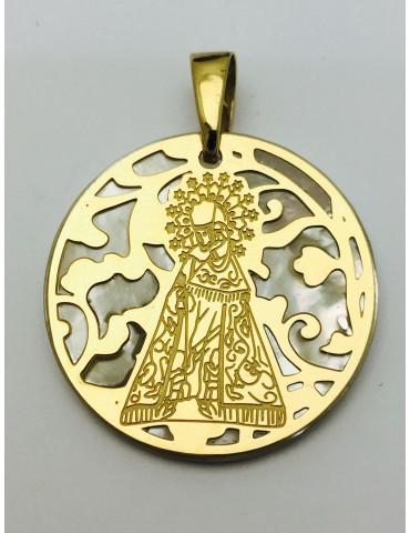Medalla Virgen de los Desamparados nacar y plata chapada en Oro 25mm
