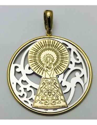 Medalla Virgen Pilar en Plata de Ley bicolor. 40mm
