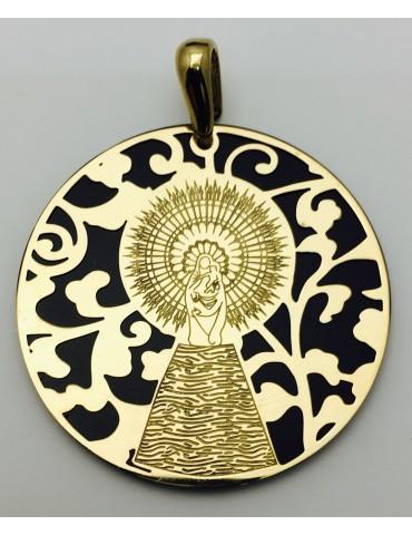 Medalla Virgen del Pilar plata de ley onix 40mm