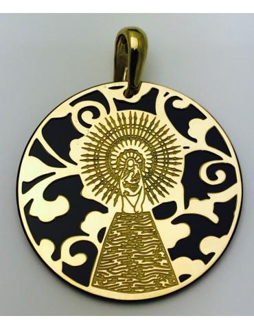 Medalla Virgen del Pilar plata de ley ónix 35mm