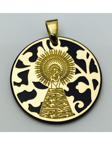 Medalla Virgen del Pilar plata de ley y onix 25mm