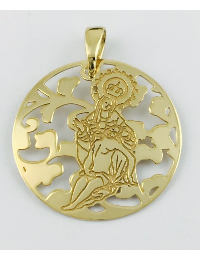Medalla Virgen Caridad Plata Chapada en Oro 25mm