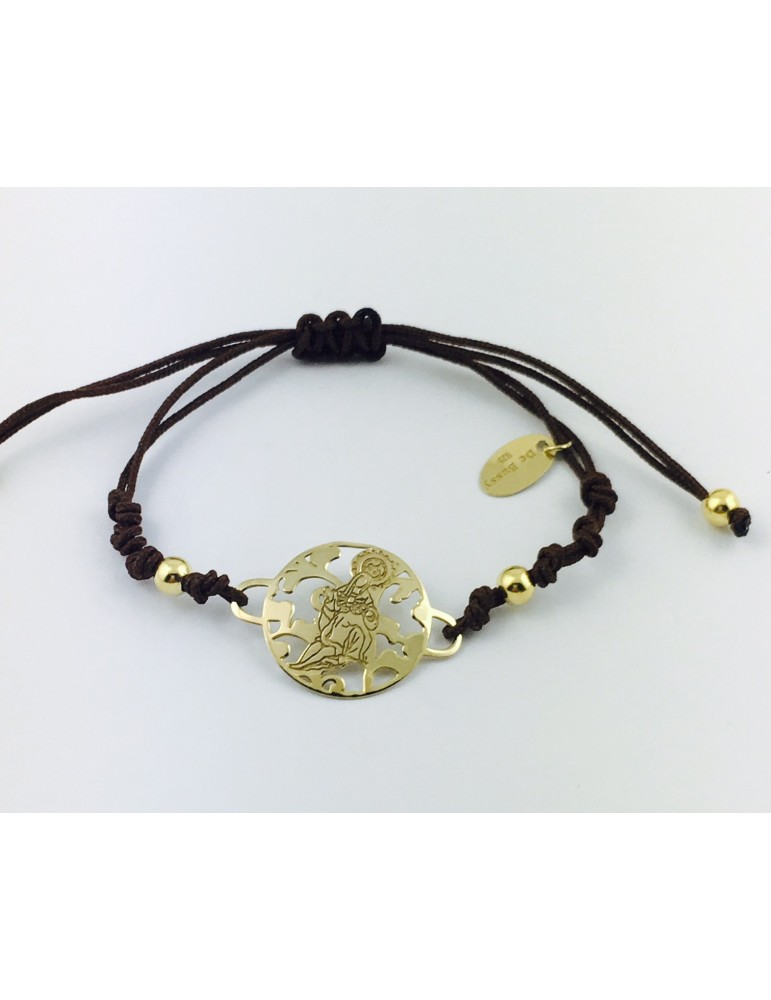 Pulsera Virgen Caridad Plata chapada Oro