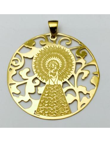 Medalla Virgen Pilar en Plata de Ley con baño de oro 40mm