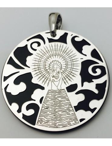 Medalla Virgen del Pilar plata de ley onix 35mm