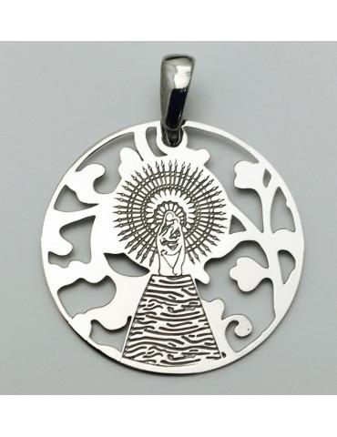 Medalla Virgen Pilar en Plata de Ley 25mm