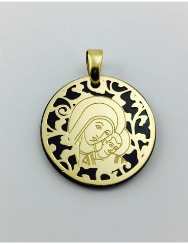 Medalla Virgen del Camino ónix y plata chapada en oro 25mm