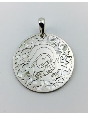 Medalla Virgen del Camino nácar y plata 35mm