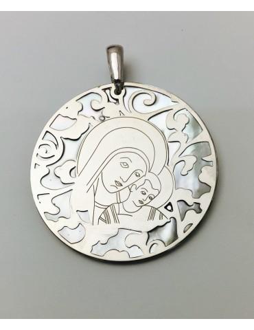 Medalla Virgen del Camino nácar y plata 40mm