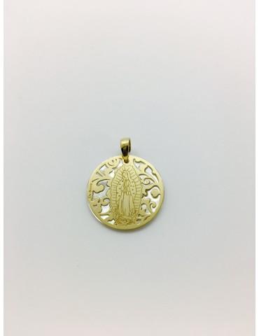 Medalla Virgen de Guadalupe (México) en Plata de Ley con baño de oro y nácar. 25mm