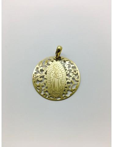 Medalla Virgen de Guadalupe (México) en Plata de Ley con baño de oro. 40mm
