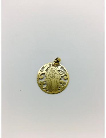 Medalla Virgen de Guadalupe (México) en Plata de Ley con baño de oro. 25mm