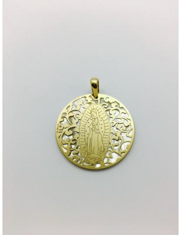 Medalla Virgen de Guadalupe (México) en Plata de Ley con baño de oro y nácar. 35mm