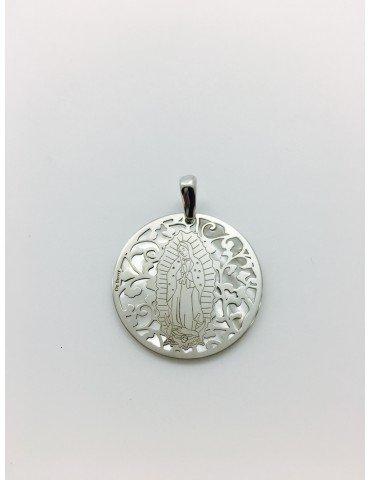 Medalla Virgen de Guadalupe (México) en Plata de Ley y nácar. 35mm