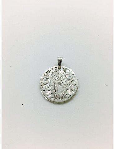 Medalla Virgen de Guadalupe (México) en Plata de Ley y nácar. 25mm