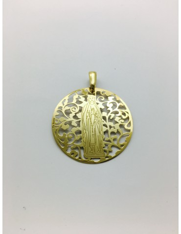 Medalla Virgen de Lourdes en Plata de Ley con baño de oro. 40mm