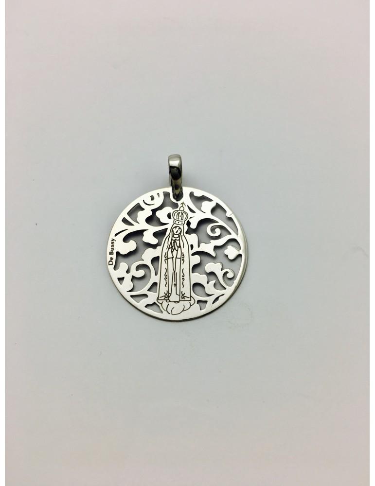 Medalla Virgen de Fátima en Plata de Ley . 25mm