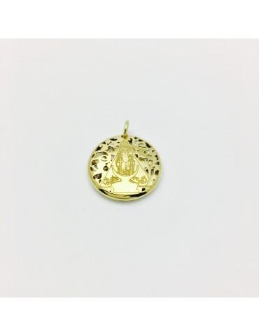Medalla Virgen Fuensanta en Plata de Ley cubierta por baño de Oro de 18Kt . 20mm