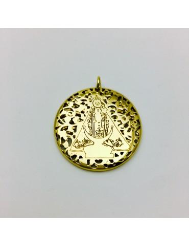 Medalla Virgen Fuensanta en Plata de Ley cubierta por baño de Oro de 18Kt . 30mm