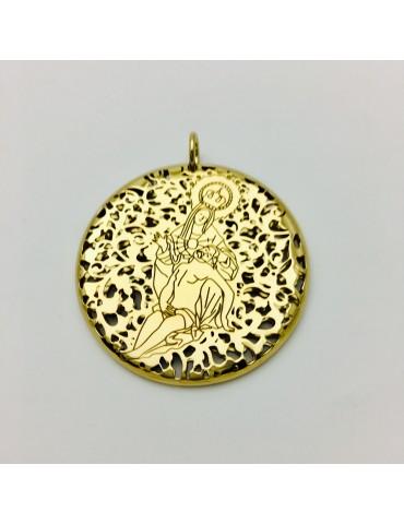 Medalla Virgen Caridad Plata Chapada en Oro 40mm