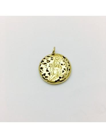Medalla Virgen Caridad Plata Chapada en Oro 20mm