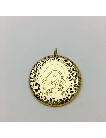 Medalla Virgen del Camino y plata chapada en oro 40mm