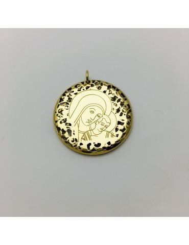 Medalla Virgen del Camino y plata chapada en oro 30mm