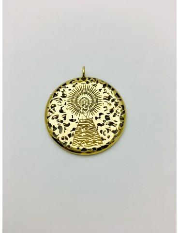 Medalla Virgen Pilar en Plata de Ley con baño de oro 30mm