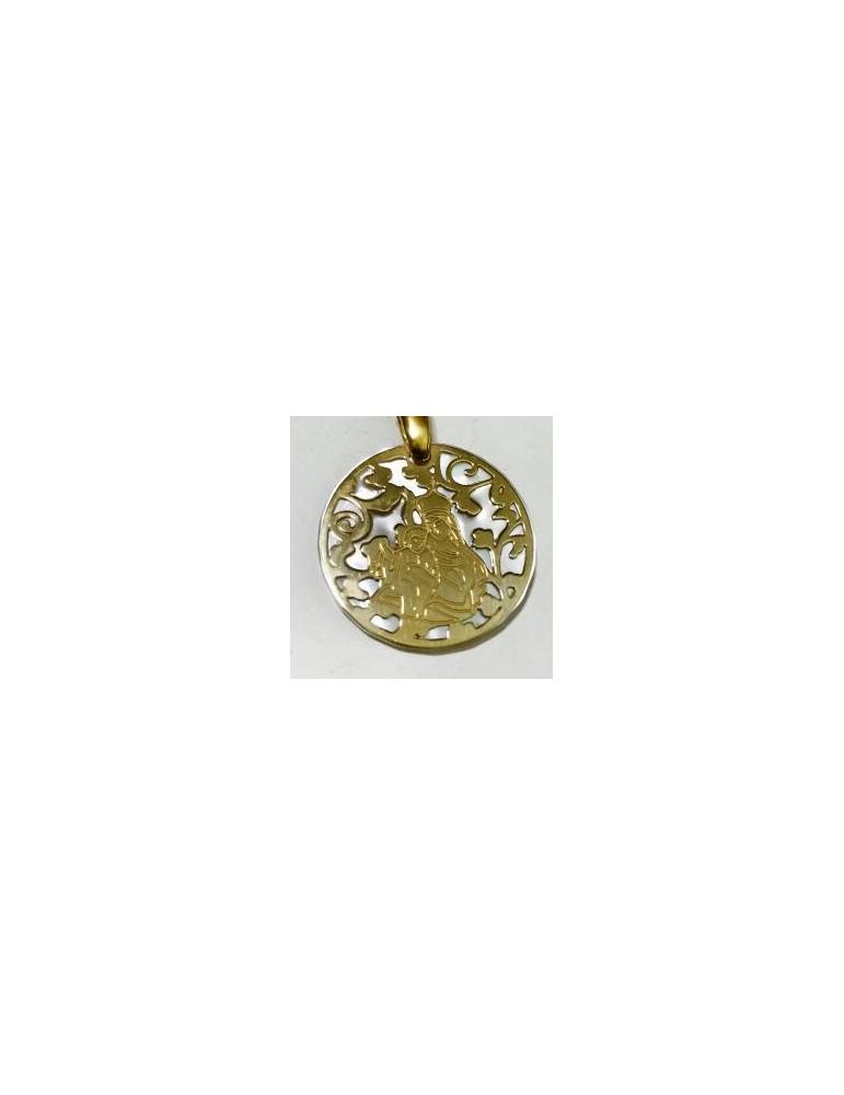 Medalla Virgen del Carmen nácar y plata chapada en oro 22mm