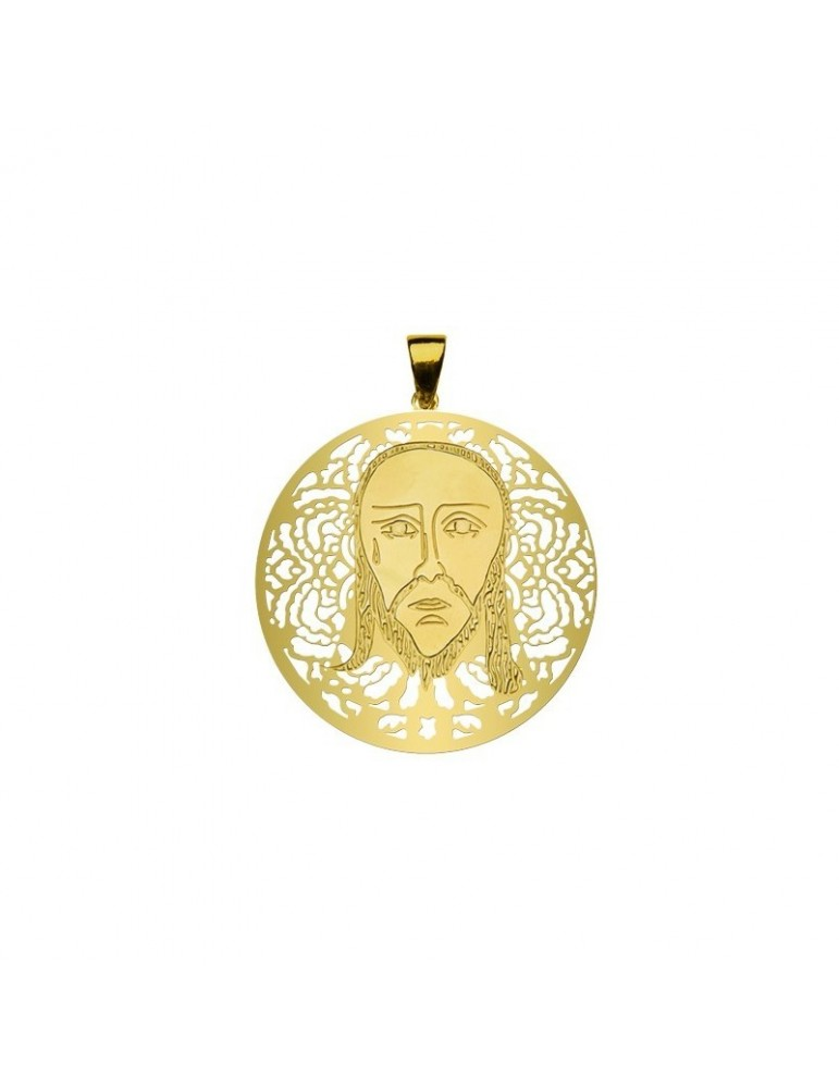 Medalla de La Santa Faz Plata Chapada en Oro 25mm