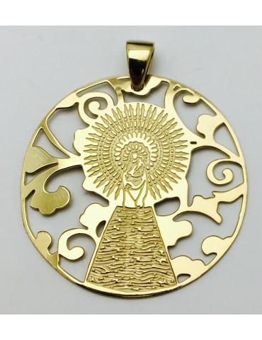 Medalla Virgen Pilar en Plata de Ley con baño de oro 25mm