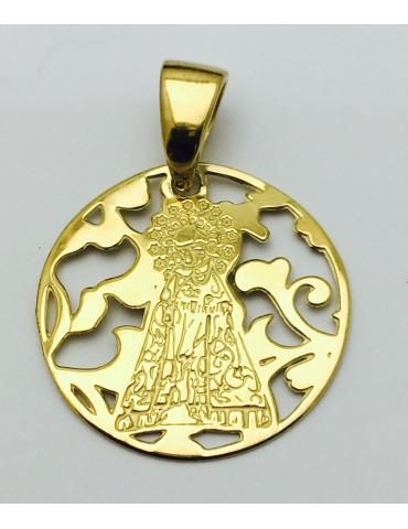 Medalla Virgen Desamparados Plata Chapada en Oro 25mm