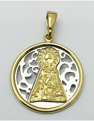 Medalla Virgen Desamparados Plata y baño de Oro 20mm