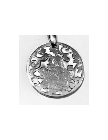 Medalla Virgen del Carmen nácar y plata 22mm